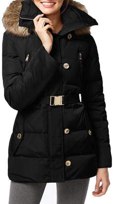 Michael Kors Michael Women's Button Front Belted 3/4 Down w/Faux Fur Outerwear XS