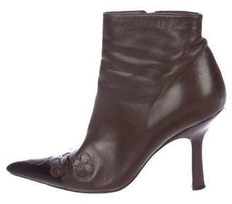 Chanel Camellia Pointed-Toe Ankle Boots