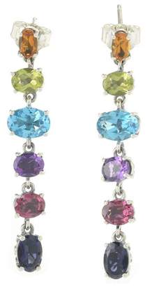 Samuel B Jewelry Sterling Silver Prong Set Multi-color Faceted Stone Linear Drop Earrings