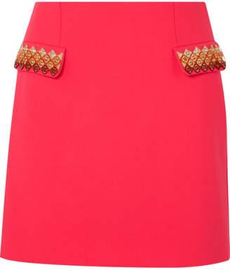 Mary Katrantzou Clovis Embellished Wool-blend Mini Skirt - Fuchsia