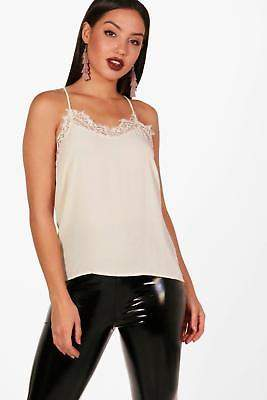 boohoo NEW Womens Lace Trim Strappy Cami in Polyester