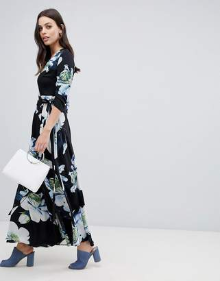 Liquorish large floral print maxi wrap dress