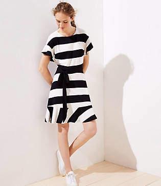 d7306cc3a LOFT Striped Tie Waist Flounce Dress