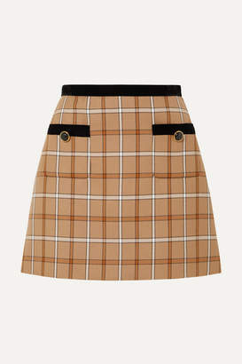 Miu Miu Velvet-trimmed Checked Woven Mini Skirt - Beige