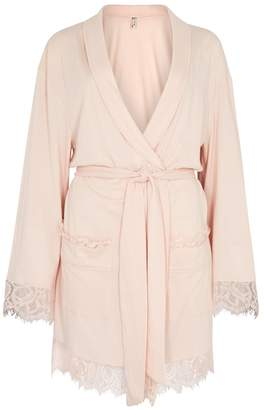 Free People Sweetest Thing Lace-trimmed Jersey Robe