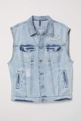 H&M Denim Vest with Printed Design - Blue