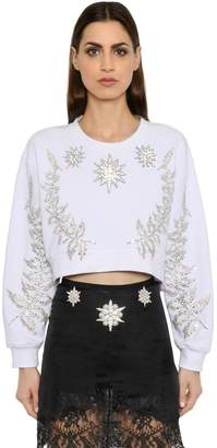 Francesco Scognamiglio Crystal Embellished Jersey Sweatshirt