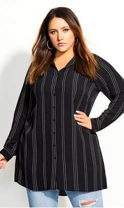 City Chic Citychic Dot Stripe Tunic - black