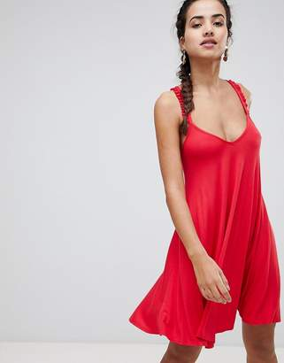 boohoo Frill Sleeve Cross Back Dress
