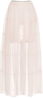Jil Sander Jersey Skirt with Sheer Overlay