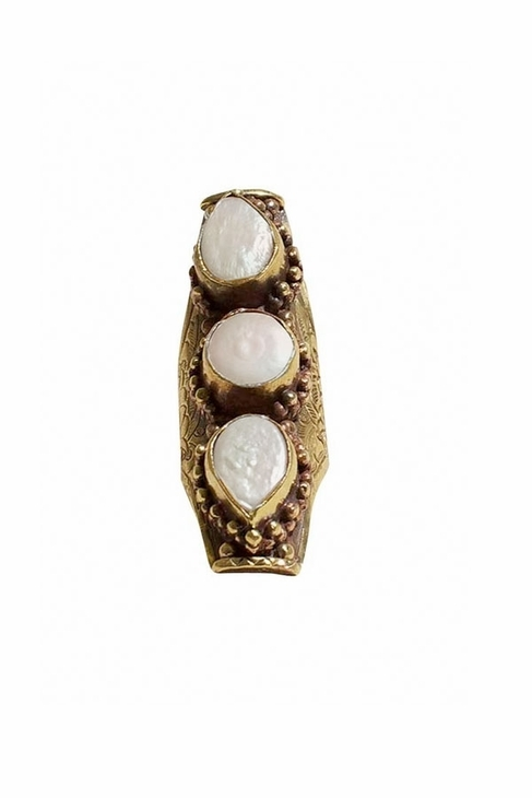 Natalie B Three Stone Saddle Ring in Pearl