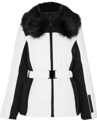 Topshop Sno - Panther Faux Fur-trimmed Two-tone Ski Jacket - White