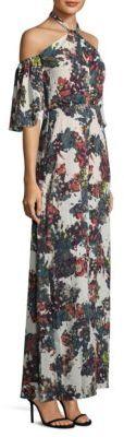BCBGMAXAZRIA Cold Shoulder Floral Halter Gown $298 thestylecure.com