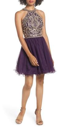 Blondie Nites High Neck Applique Fit & Flare Dress