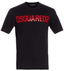DSQUARED2 Men's Logo Stud Fit T-Shirt - Black Red - Size Large
