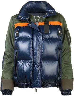 Sacai colour block puffer jacket