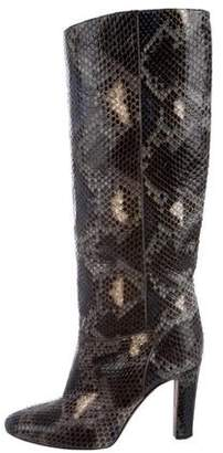 Valentino Snakeskin Knee-High Boots