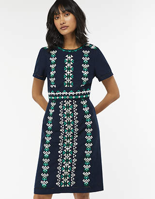 Monsoon Perrie Embroidered Linen Dress