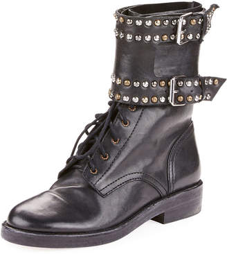 Isabel Marant Teylon Studded Buckle Leather Booties