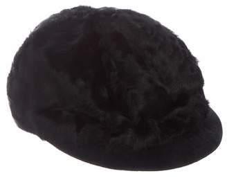Eric Javits Suede-Trimmed Fur Hat