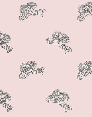 Lulu & Georgia Bows Wallpaper by Clare V., Charcoal Shell