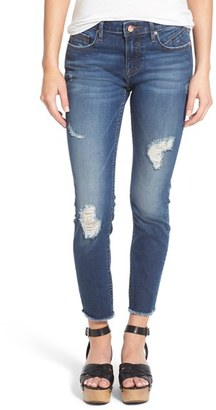 Women's Vigoss Distressed Raw Hem Skinny Jeans $68 thestylecure.com