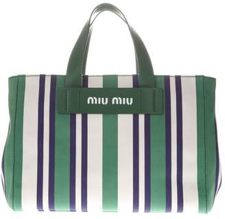 Miu Miu Large Tote Bag In Canvas Green And White Striped Pattern