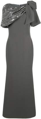 Badgley Mischka Asymmetrical Draped Shoulder Gown