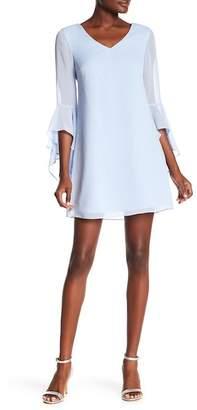 Kensie Criss-Cross Back Ruffle Sleeve Dress