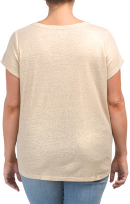 Plus Cap Sleeve V-neck Knit Linen Blend Tee