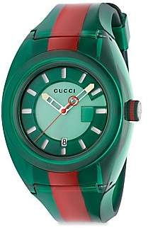 f9408e38af9 Gucci Transparent Nylon   Striped Rubber Strap Watch Green