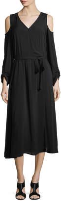 Neiman Marcus Tie-Waist Cold-Shoulder Midi Dress