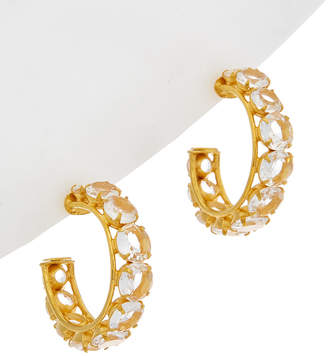 Bounkit 14K Plated Clear Quartz Hoops