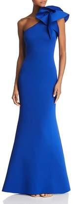 Eliza J One-Shoulder Scuba Gown