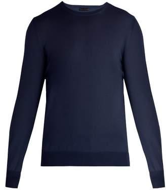 Bottega Veneta Intrecciato Trim Wool Sweater - Mens - Navy