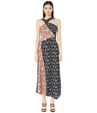 Yigal Azrouel Haltered Neck Drape Front Printed Jersey Long Dress