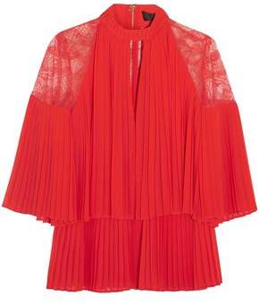 Elie Saab Lace-Paneled Cutout Pleated Chiffon Blouse
