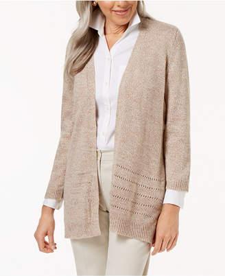 Karen Scott Open-Front Pointelle Cardigan, Created for Macy's