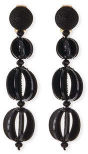 Oscar de la Renta Spliced Globe Statement Clip-On Earrings