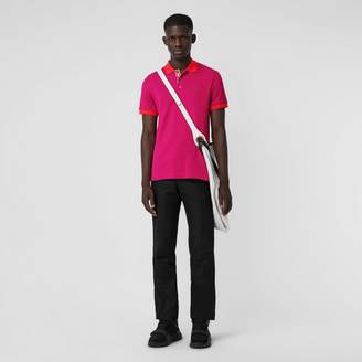 Burberry Contrast Collar Cotton Polo Shirt, Pink
