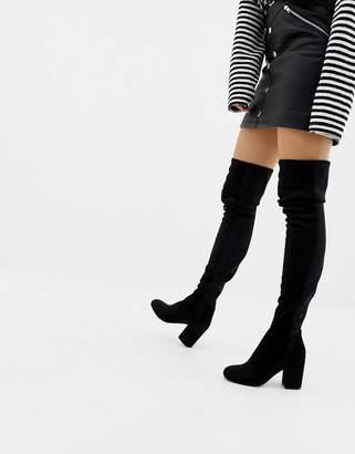 55d6aadf3e7 Asos Design DESIGN Slim Kadi heeled thigh high boots