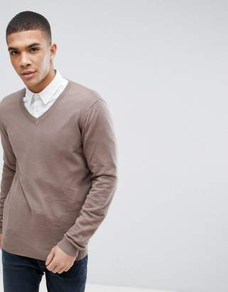 Asos Design Cotton V-Neck Jumper In Light Brown