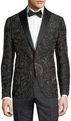 Etro Beaded Satin-Trim Evening Jacket