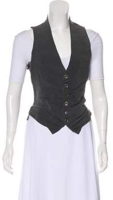 Greg Lauren Satin-Paneled Button-Up Vest