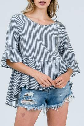 Cozy Casual Black Strip Lace-Up-Top