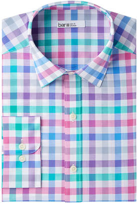 Bar III Men's Slim-Fit Stretch Easy-Care Bold Color Gingham Dress Shirt, Created for Macy's