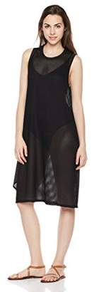 Painted Heart Women's See Through Textured Mesh Dress Heavy Black