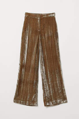 H&M Crushed-velvet Pants - Brown