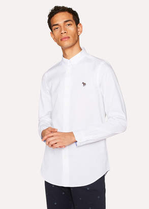 Paul Smith Men's Tailored-Fit White Cotton Shirt With Zebra Motif
