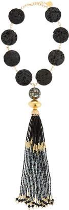 Devon Leigh Lava Coin & Mosaic Tassel Necklace